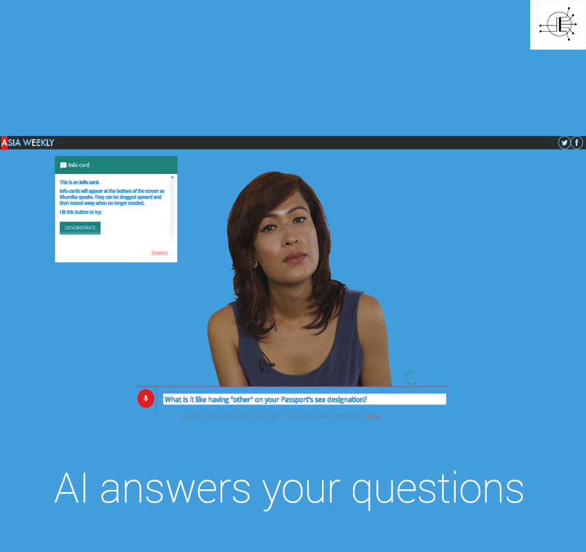 Bhumika Shrestham answers questions through an AI interface