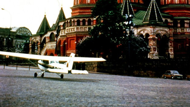 Mathias Rust's Cessna on Red Squre in front of the Kremlin