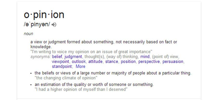 The Dictionary Definition of Opinion