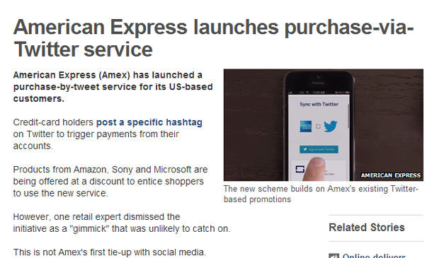 Amex Twitter Experiment with eCommerce