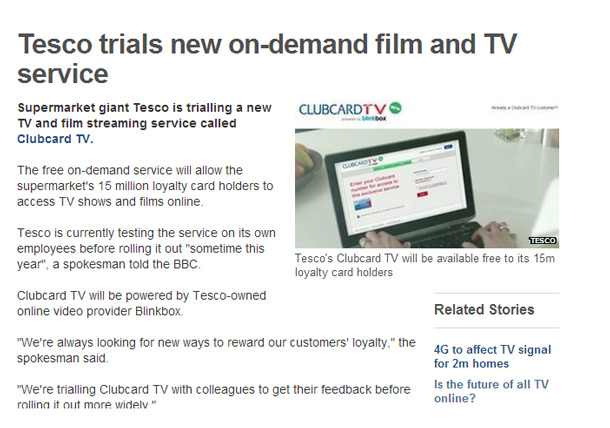Tesco Rewards Clubcard Customers with Free TV and Films Service